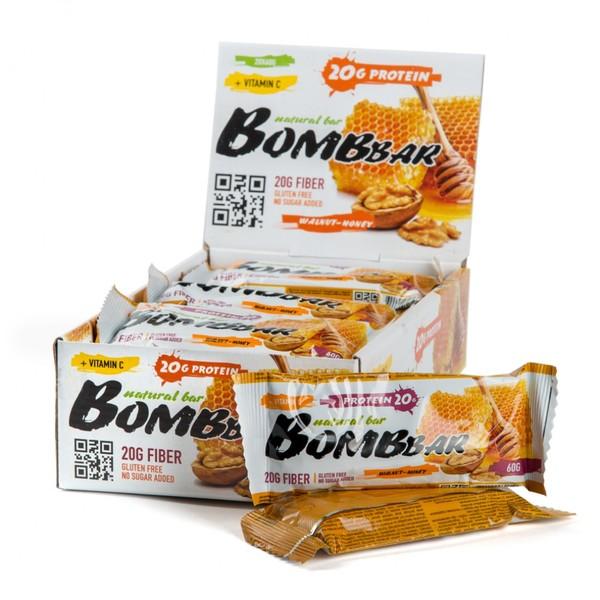Протеиновые батончики BombBar (Грецкий Орех-Мёд) 20шт