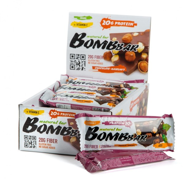 Протеиновые батончики BombBar (Шоколад-Фундук) 20шт