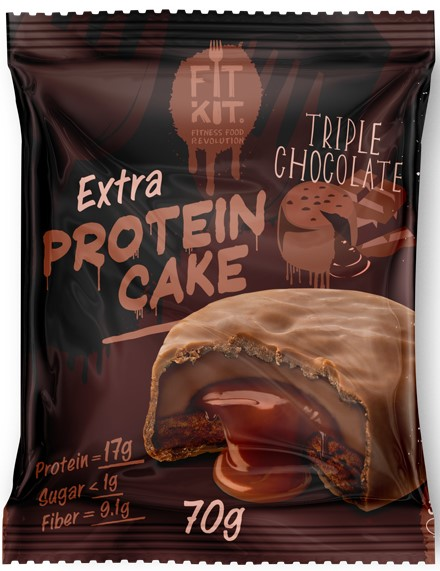 FitKit Protein Cake EXTRA 70гр (Тройной Шоколад)