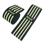 Бинты коленные FitRule черно-зеленый HARD (пара), 2 метра